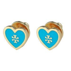 Tory Burch Earrings Blue Heart Studs New